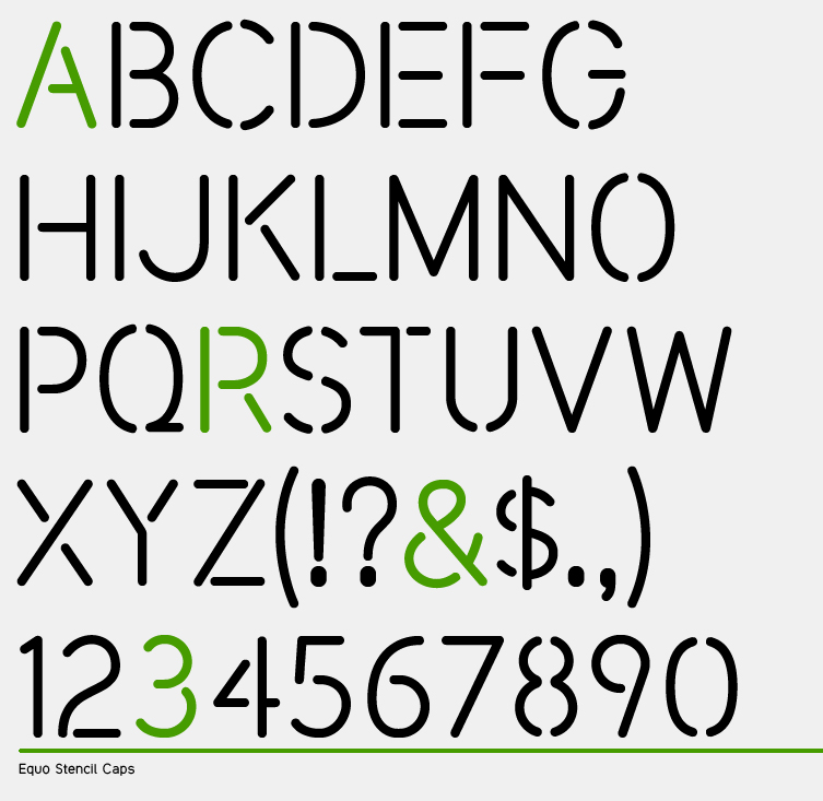 This is an uppercase stencil font made as an additional cut of the Equo type